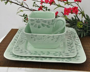 Green Square Ceramic Dinnerware Sets With Pad Printing & Green Square Plates Dinnerware - Castrophotos