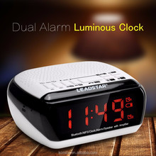 New radio speaker cheap alarm radio clock App remote aux in 10 hours music playing radio clock