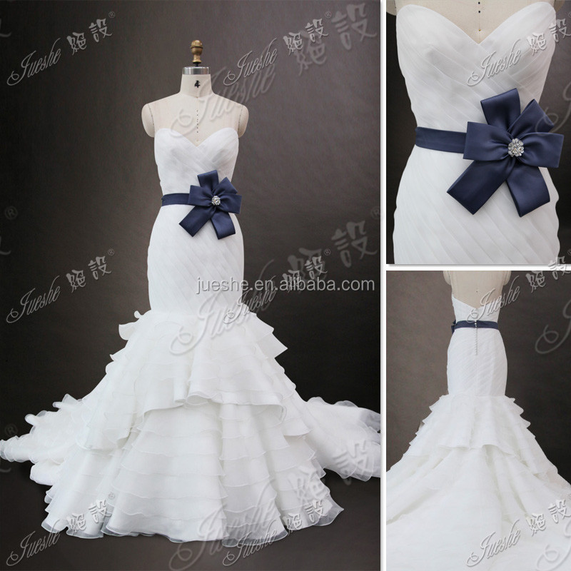 Sweetheart Neckline Trumpet Ruffled Organza Wedding Dress New With Navy Blue Ribbn