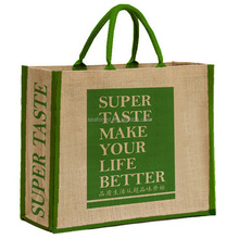 Custom Logo Printing Recycled Shopping Green Eco Organic Jute Tote Bags