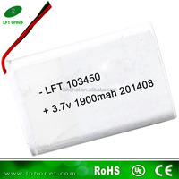 Long cycle life lithium 103450 battery 3.7v 1900mah rechargeable battery for tablet pc