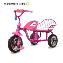 Colorful wheels children tricycle two seat / baby twins tricycle for sales