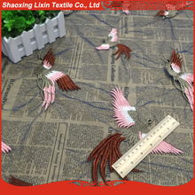 new product fabric mesh in embroidered fabric the bird design for lady dress