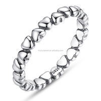 Newest design 925 sterling silver heart stackable ring