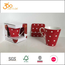 10oz V shape porcelain mug with coaster set