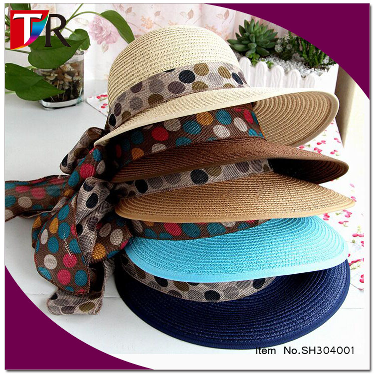 wholesale cheap lady summer beach bowknot straw floppy hats