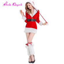 High Quality winter v neck hooded christmas dress santa claus costume