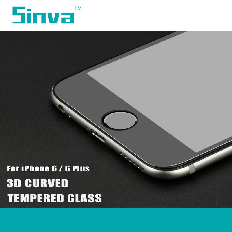 Sinva factory bubble free ultra slim 0.2mm 9H 3D full curved 4color tempered glass screen protector for iphone 6s /6s plus