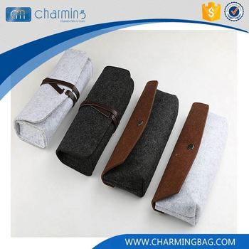 Latest arrival custom design rope tie button different types pencil felt bag