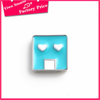 Metal Alloy rectangle shaped Enamel blue Charms With Lobster Clasp locket Charms Jewelry Customized
