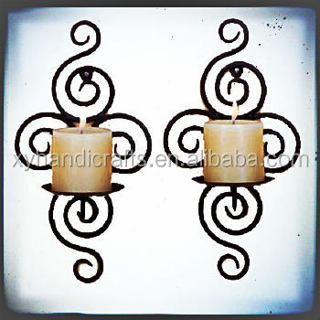 handicraft gift antique home decorative metal candle holder wrought iron candle wall sconces