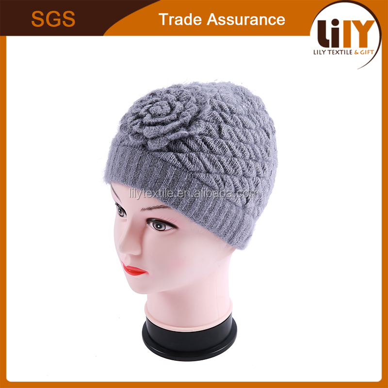 Winter Soft Warm Lady Cap With Knitting Rose Flower