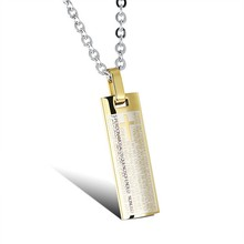 China Manufacturer Supply Stainless Steel Religious Spanish Lord's Prayer Bible Scripture Gold Jesus Piece Pendant Necklace