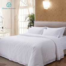 Green Mountain Hotel textile supplier 3cm Stripe Satin White bedding sets queen comforter