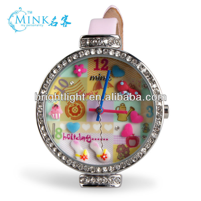 lovely clay dough children 3d pink watch