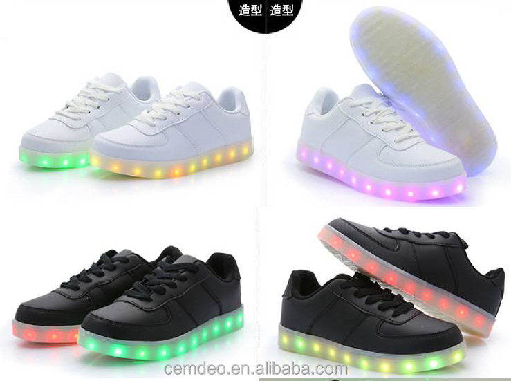 men women led shining shoes