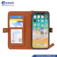 2017 NEW multi function wallet credit card slot cash storage slot leather case for iphone X with magnetic with zipper lock