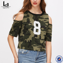 Oliver green camo print open shoulder t - shirt womens crop style tee