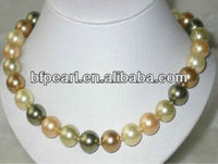 14mm multicolor round shell pearl necklace