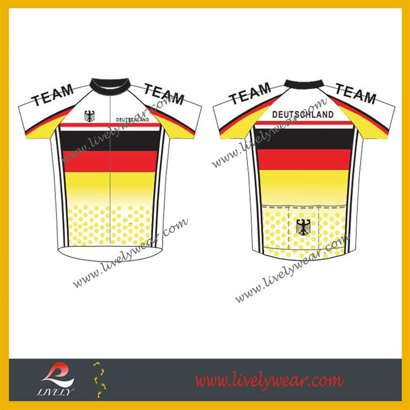 Wholesale Cheap Sublimation Cycling Shirts, German Bike Top