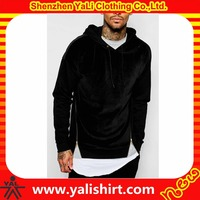 New design comfortable cheap side zipper cotton dropped shoulder velour blank hoodies with no labels