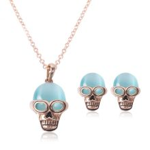 hot sale stainless steel vintage skull charm unique punk retro necklace & earrings Halloween Day bridal jewelry sets for gift