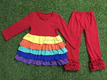 Wholesale RAINBOW colorful children's clothes baby girl lovely ruffle boutique clothing set