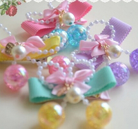 Top quality children baby girls pearl bowknot hair accessories hair clip hairpins ball dangle barrettes headwear