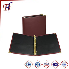 3 hole ring binder a4 leather presentation loose leaf folder & custom PU leather ducument file folder
