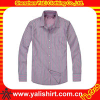 Custom classic cotton one pocket formal striped long sleeve wholesale mens dress shirts