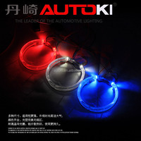 Autoki universal for 2.5'' 3.0'' hid bi xenon projector lens light LED angel eyes with W/Y/R/P/G dual-color