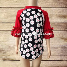 wholesale pictures for children gown 3/4 sleeve baseball pattern t shirts in bulk