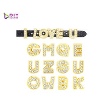 Wholesale Rhinestone Gold Slide Letters For 10mm Leather Bracelet And Dog Collars,<strong>10</strong> mm gold bling bling letter slider charms