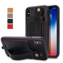 2018 Jisoncase Fashion Leather Case for iPhone Xs with Card Holder and String Back Cover