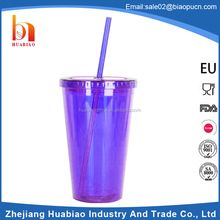 Mini 10oz 32oz hard plastic tumbler cup with lid and straw