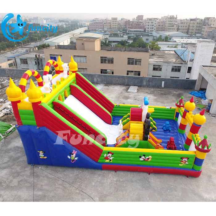 Hot Sale Inflatable Fun City With Slide, Outdoor Inflatable Playground In Sewing Technology