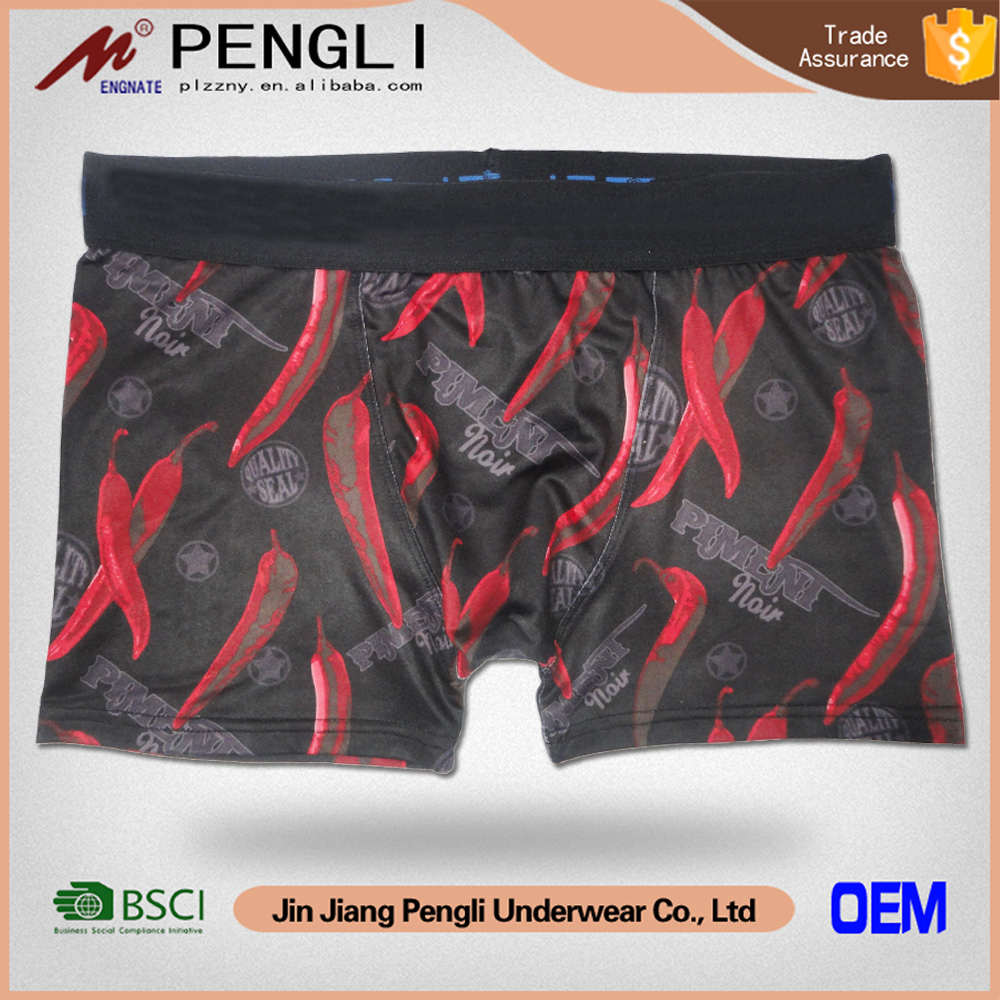 OEM Factory provide funny print elastic free cotton underwear for men
