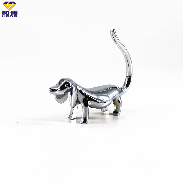 Metal ring Holder Cute Dog Chrome-Plated Jewelry Display