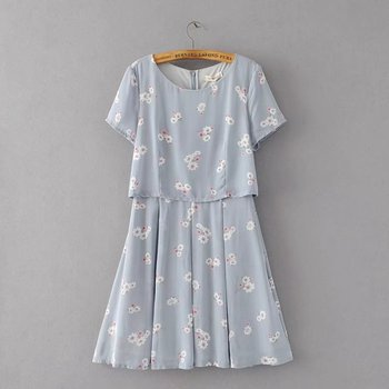 MS75176L Korean style women short sleeve summer dress