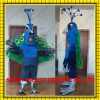 Fancy adult peacock mascot costume with mini fan inside the head peacock mascot costume