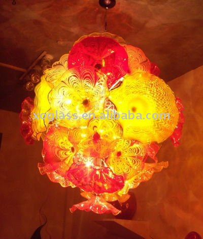 Hot selling hand blown art blue color chihuly style murano glass chandelier