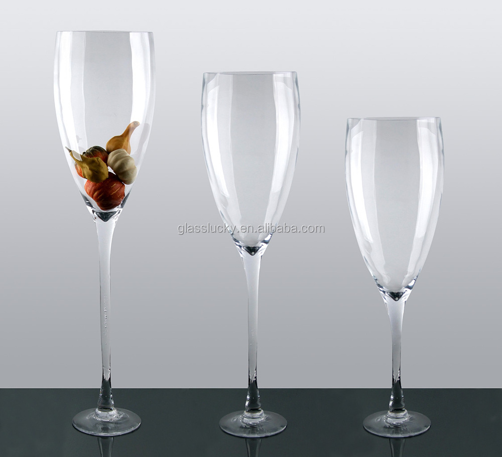 Wholesale giant wine glass vase for wedding decoration Large wine glasses cheap