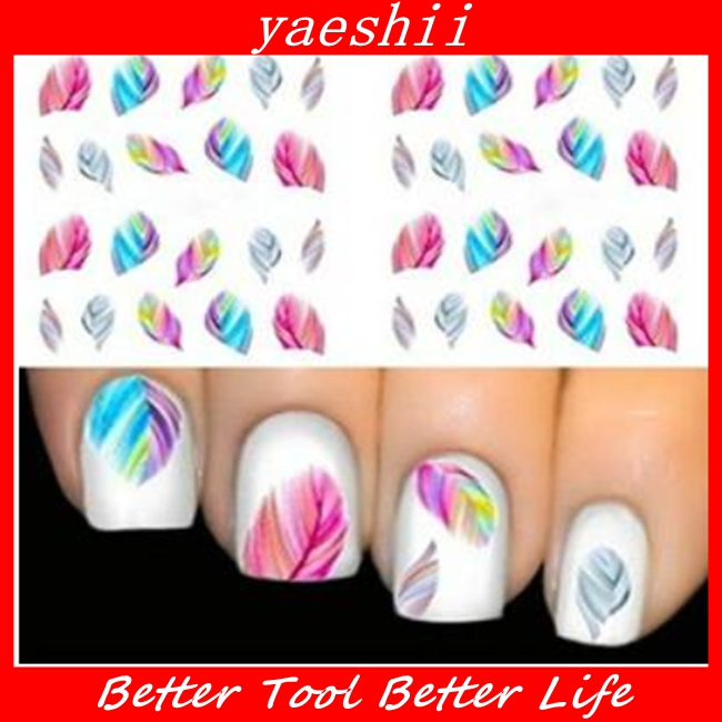 YAESHII Water Transfer Nail Art Sticker Tip Decal Manicure feather pattern