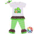 2016 spring summer green flower LUCKY st patricks day girls boutique outfits cotton chirldren clothes set