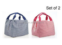 Strip Canvas Picnic Lunch Tote Bag Travel Zipper lunch Organizer Box