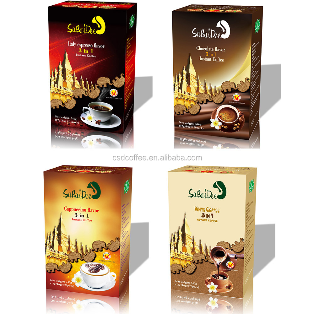 Hot-selling 4 flavor SaBaiDee 3 in 1 instant coffee mix