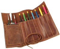 All Kinds of Office Stationary Leather Folding Roll 3 Layers Pencil Case