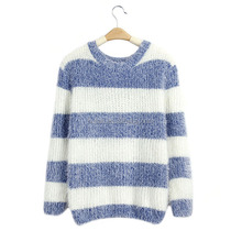 cheap fat women stripe mohair sweater