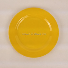 yellow melamine solid color round plate for home and restaurant use