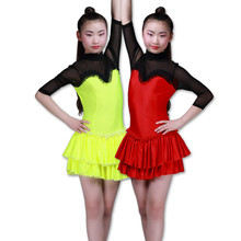 OCT6510 Professional Girls High Neck Rhinstone Sequin Latin Dance Dress Child Kids Mesh Long Sleeve Sexy Performance Dress